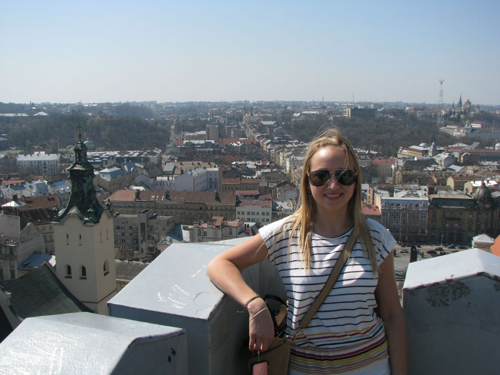 Valeria auf dem Rathausturm in Lemberg