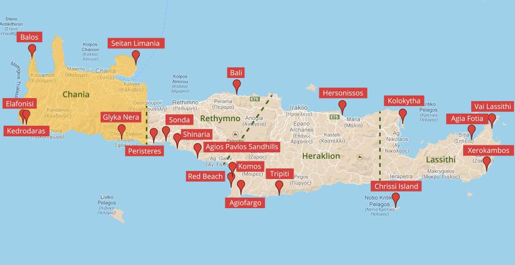 Landkarte der Strände auf Kreta im Regionalbezirk Chania - weltvermessen.de