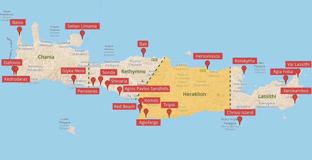 Landkarte der Strände auf Kreta im Regionalbezirk Heraklion - weltvermessen.de