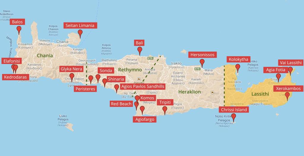 Landkarte der Strände auf Kreta im Regionalbezirk Lassithi - weltvermessen.de