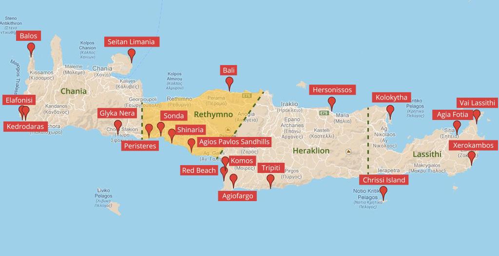 Landkarte der Strände auf Kreta im Regionalbezirk Rethymno - weltvermessen.de