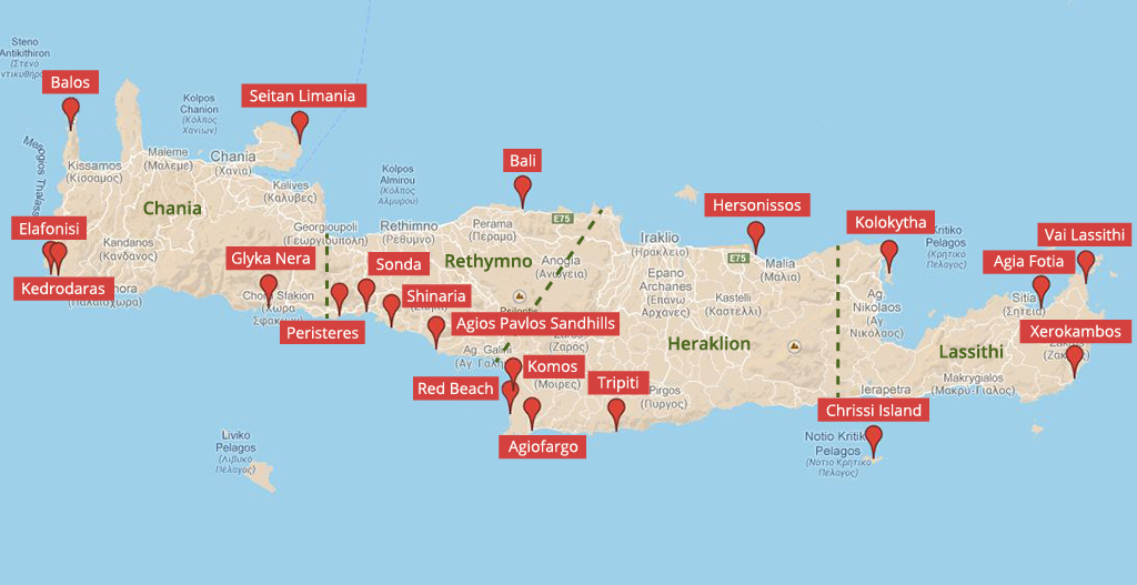 Landkarte der Strände auf Kreta  - weltvermessen.de