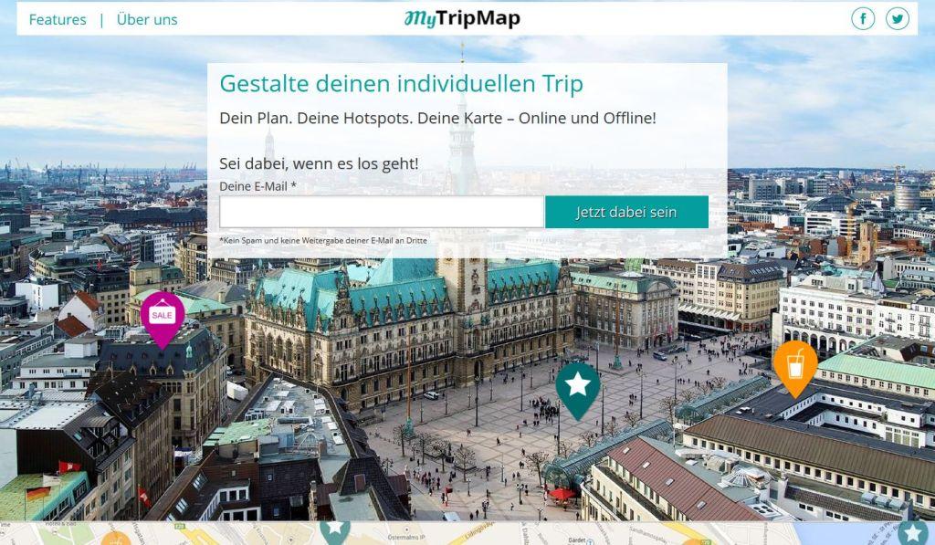 Webseite mytripmap.de - www.weltvermessen.de