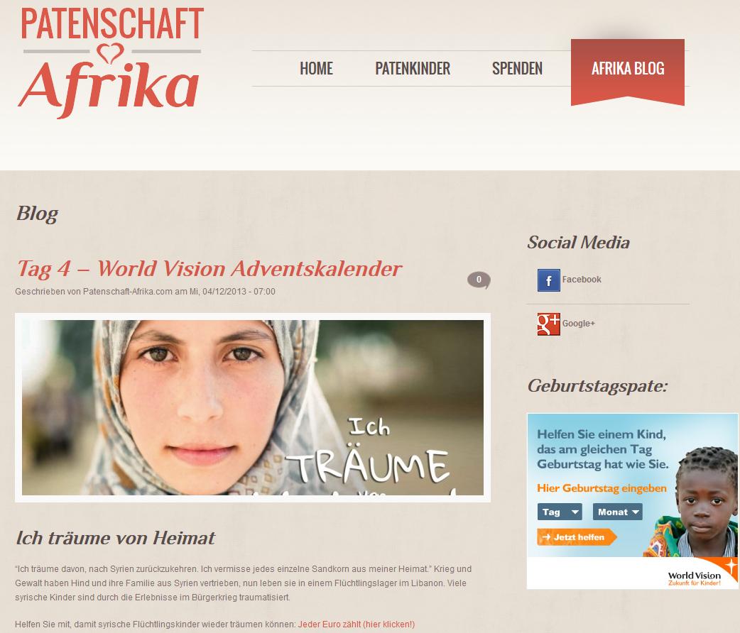 Blog Patenschaft für Afrika von Lisa Werner (Screenshot)